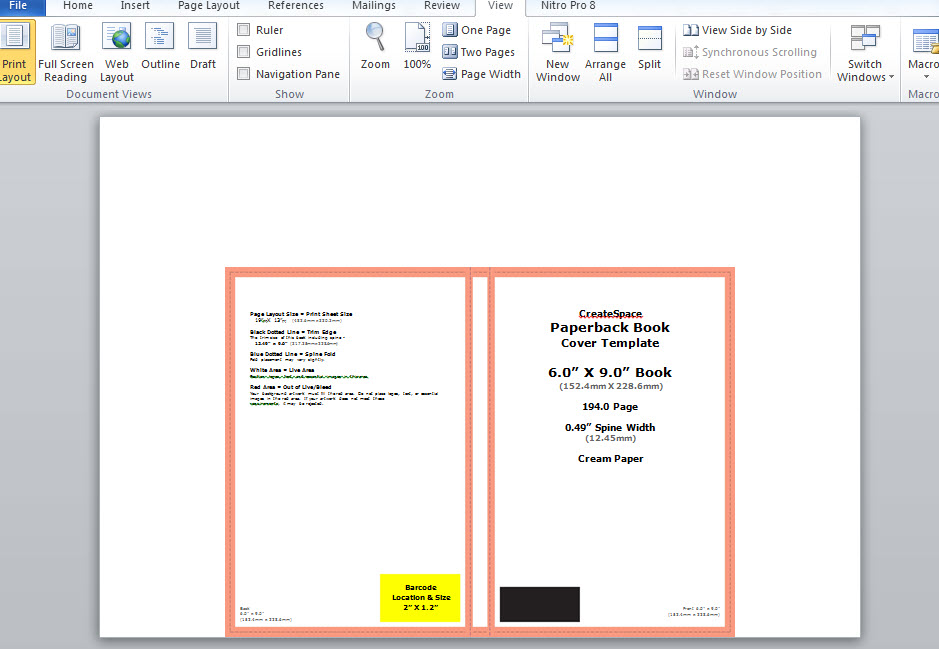 Book Cover Design Microsoft Word : How to make a full print book cover in microsoft word for