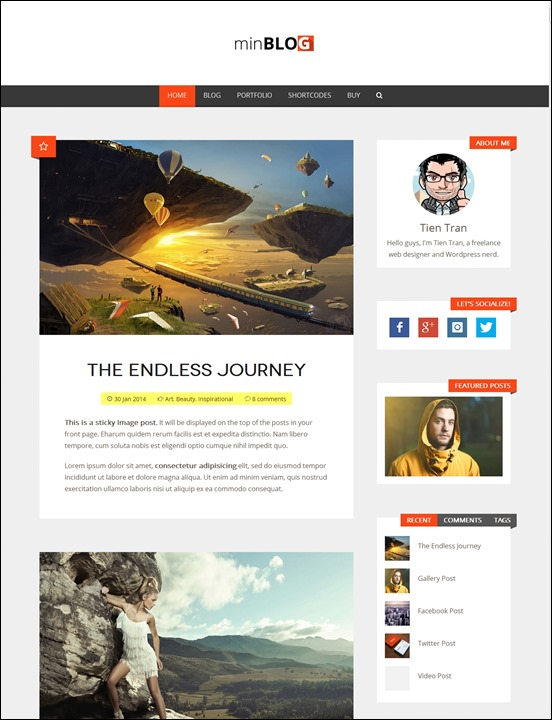 minblog-author websites wordpress